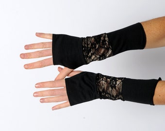 Black lacy armwarmers, Black patchwork gloves, Jersey and lace fingerless gloves, Black patchwork wrist warmers,fingerless armwarmers, MALAM