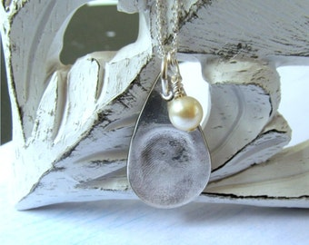 Thumbprint Necklace, Silver Fingerprint Jewelry, Fingerprint Charm Pendant