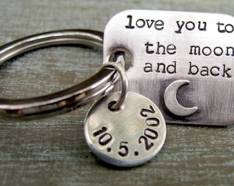 Father's Key Chain, Hand Stamped Personalized Sterling Silver Key Chain,Gift for Him, Dad, Grandpa, Brother, Teenager