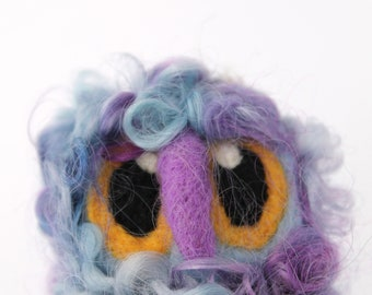 Owl Baby, Felt Bird, Blue and Purple Needle Felted Limited edition Owl Baby in Hand Dyed Teeswater Locks