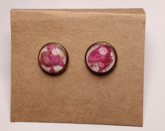 Rose blossom earrings with real rose petals, flower decorations,