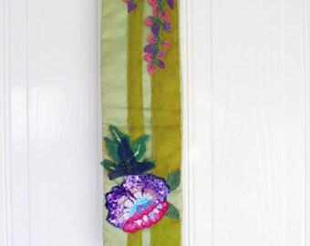 Vintage ETRO floral embroidered sequin green velvet silk sash belt Excellent