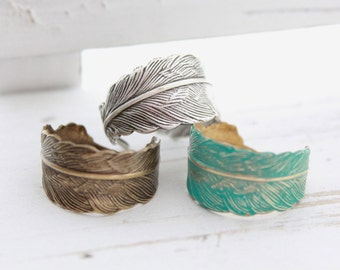 Turquoise Feather Rings, Feather Jewelry, Gifts Under 20, Fashion Rings, Adjustable Rings,Gifts For Girls,Trending Jewelry,Cute Little Rings