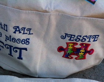 Custom autism canvas bag until all the pieces fit