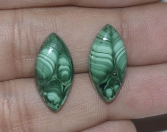 Natural Malachite Cabochon 20x10x4 MM Matching Pair Handmade Loose Gemstone Marquise Shape 15 Cts