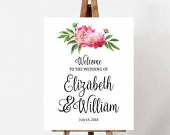 Welcome Wedding Sign, Personalised Peony Wedding Welcome Sign, wedding sign, DIY wedding, Printable Sign