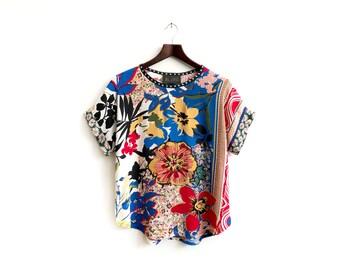 Floral Top, Unique Summer Blouses, Summer Fashion, Unique Women Fashion, Unique Clothing, Floral Shirts, Spring Fashion, Sizes: XS/S/M/L