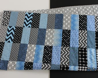 """Modern Baby Quilt; """"Tessa""""; Rectangles; Blue; Black and White; Baby Gift; Lap Quilt; Play Mat; Wall Art; Gender Neutral"""