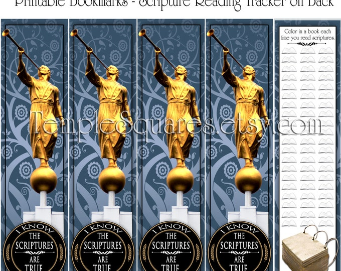 PRINTABLE Bookmarks - Primary 2016 I Know The Scriptures Are True. 2 Month Scripture Reading Tracker on Back  - pdf and jpg formats
