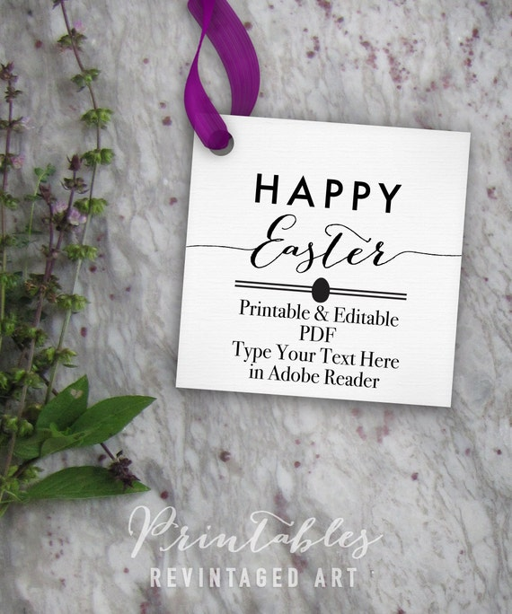 Happy easter tags printable easter tag editable template happy easter tags printable easter tag editable template diy digital pdf 2 inch square custom 2x2 favor tag treat bag tag gift tag negle Gallery