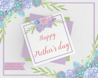 Mother's Day Square Cards - Sweet Succulent Mothers day Gift Tags - Printable Mothers day Cards and Gift Tags - MD003