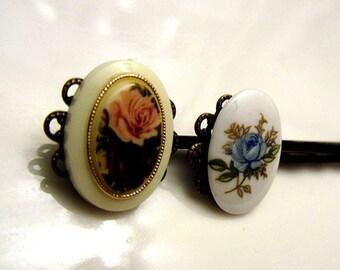 Antique vintage rose pendant antique bronze hair bobby pin