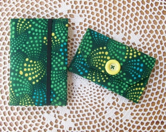 Fabric Covered MINI NOTEBOOK & WALLET Set Polka Dots Pine Turquoise Greens One of a Kind Purse Accessories Credit Card Gift for Her