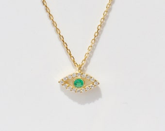 Eye Necklace • A Tiny Charm Necklace in Gold Plated Sterling Silver and Cubic Zirconia • Very Beautiful