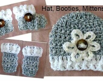 Crochet Baby Set, Hat-Booties-Mitts, CROCHET PATTERN, patterns for babies, Crochet for Babies,  Shower Gift idea, #863