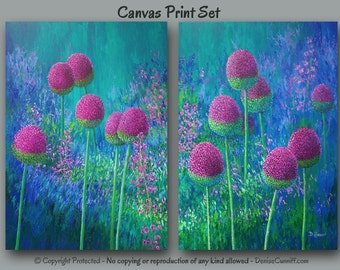 Colorful abstract floral wall art, Botanical painting - 2 pc canvas print set, Bohemian home decor, Bedroom, Jewel tone Magenta Blue Purple