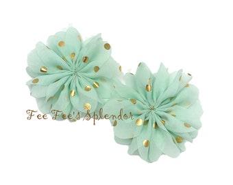 "Set of 2 - Chiffon Ballerina Flower * 3"" Mint w/ Gold dots - DIY headband flower- Chiffon twirls"