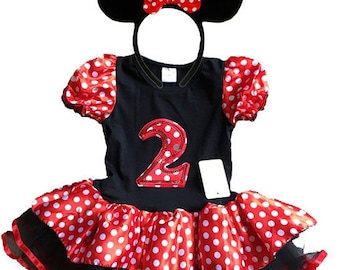 Minnie Mouse Red Birthday Dress 2 year old + FREE Headband Girl Baby Toddler