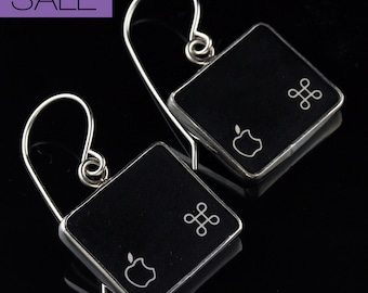 SALE - Computer Key Jewelry - rePURPOSED Apple MacBook Command Key Apple Logo v1 Sterling Dangle Earrings
