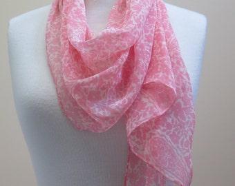 Pink Scarf/Vintage 70s Silky Rectangular Scarf