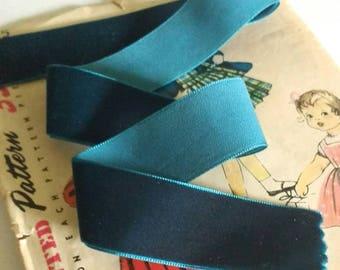 "Dark Teal Blue Velvet Ribbon for Bows, Floral, and Millinery 1"""
