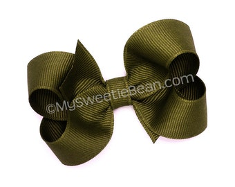"""Olive Hair Bow, 3 inch Hair Bow, No Slip Grosgrain Bow for Girls, 3"""" Boutique Bow, Medium Bow, Baby, Toddler, Girls, Army Green, Khaki Green"""