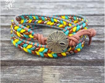 Beachy Boho Wrap Bracelet - Brown Leather Bracelet - Retro Beaded Bracelet - Boho Leather Bracelet - Gift for Her - Boho Beach Jewelry