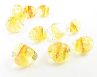 10mm Unicorne Tear Drop Lampwork Beads - Honey - 4 Pieces - 22164