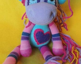 "Parisa - 9"" Sock Unicorn Plush - Handmade Plush Doll"