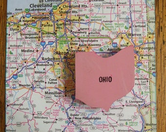 Ohio Pin State Brooch Vintage Map Puzzle Pink