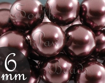 Swarovski pearls 6mm Burgundy beads burgundy pearls Swarovski crystal beads Style 5810 (25)