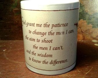 Annie Oakley Serenity Prayer Humorous Mug Wild West Pistol Gun Belt Coffee Tea Drinking Funny Cute Relationship Man And Woman Deal With It