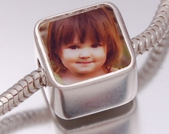 Double Sided Photo Bead Solid Sterling Silver Fits Pandora Style Bracelet / Necklace