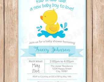 Ducky Baby Shower Invitation | Gender Neutral, Rub a Dub, Rubber Duck - 1.00 each printed
