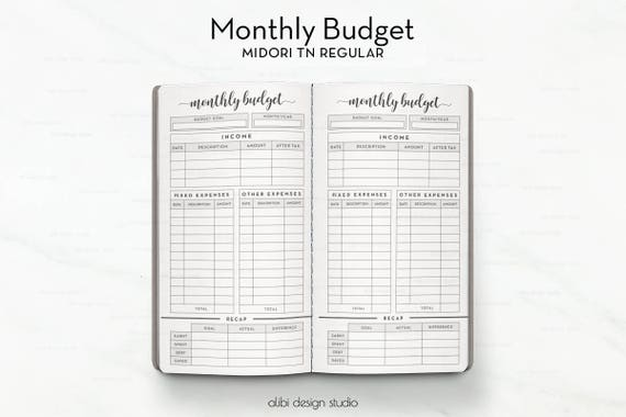 Standard TN Monthly Budget Budget Planner Travelers