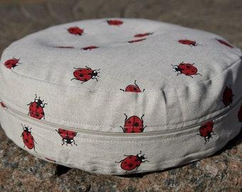Ladybird Yoga pillow round cushion meditation seat zafu, Meditation seat, Floor pillow, Yoga cushion, Meditation cushion Round pillow Yoga