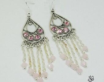 Fancy Rose Swarovski Chandelier Earrings