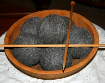 Vintage Primitive Wooden Gathering  Bowl Antique knitting Needles filled with Gray Alpaca Yarn Gift Knitting Crochet