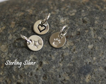 """Paw print, heart, peace sign or star hand stamped tiny sterling silver charm - 1/4"""" (6.4mm)"""
