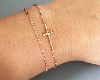Sideways Cross Bracelet, Rose Gold Cross bracelet, Double Layered Bracelet, Graduation gift, Christian Jewelry, Dainty Side Cross Bracelet