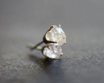 Raw Diamond Earrings, Rough Diamond Studs, Minimalist Earrings, Small Quartz Studs, Bridal Studs, Mothers Day Earrings, Bridesmaid Earrings
