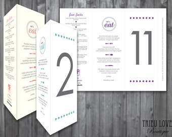 Wedding Menu, Table Number, Fun Facts, Instagram, Customized Trifold Digital Printable