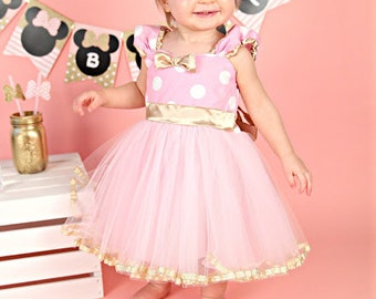 Pink and Gold birthday dress, MINNIE MOUSE dress, pink  Minnie Mouse TUTU dress, baby girl 1st birthday outfit pink and gold, first birthday
