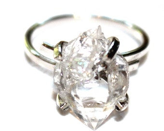 Herkimer Diamond Quartz Ring Chunky Ring Adjustable Ring Silver Quartz Ring Herkimer Quartz Jewelry Herkimer Jewelry Raw Stone Herkimer Ring