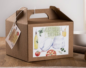 Mozzarella and Ricotta - DIY cheese kit -multiple batches - recipe cards - gift box - organic DIY food - do it yourself - vintage style