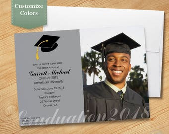 Photo Graduation Invitation, High School Graduation Invitation, College Graduation Invitation, Graduation Party Invitation, 2018