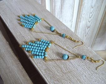 Glamorous-looking turquoise chandelier earrings