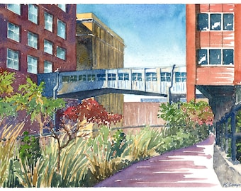 Afternoon on the High Line, NYC: Watercolor Print
