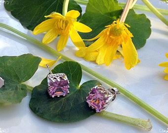 Earrings zircon, Earrings with crystal, Stud earrings, Cubic zircon, Pink earrings, Cubic zircon AAA, Gentle earrings, Gift for daughter