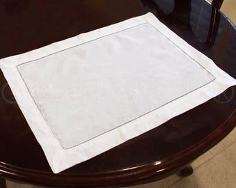 "6 Pk - White Hemstitch Placemats - 14"" x 20"" - 55/45 Linen Cotton Blend - Ladder Hemstitched Cloth Place Mats - Embroidery Monogram Supplies"
